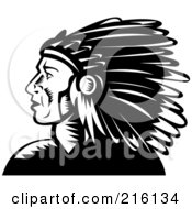 Royalty Free RF Clipart Illustration Of A Black And White Retro Native American Chief Profile by patrimonio