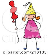Royalty Free RF Clipart Illustration Of A Childs Sketch Of A Birthday Girl With A Balloon by Prawny