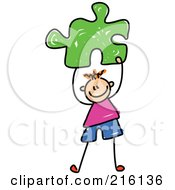 Royalty Free RF Clipart Illustration Of A Childs Sketch Of A Boy Holding A Green Puzzle Piece by Prawny