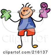 Royalty Free RF Clipart Illustration Of A Childs Sketch Of A Boy Holding Puppets by Prawny