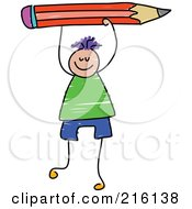 Royalty Free RF Clipart Illustration Of A Childs Sketch Of A Boy Holding Up A Red Pencil by Prawny