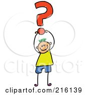 Royalty Free RF Clipart Illustration Of A Childs Sketch Of A Boy Holding Up A Question Mark by Prawny