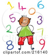 Royalty Free RF Clipart Illustration Of A Childs Sketch Of A Boy Surrounded By Colorful Numbers by Prawny
