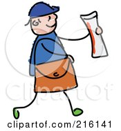Royalty Free RF Clipart Illustration Of A Childs Sketch Of A Paper Boy Holding A Newspaper by Prawny