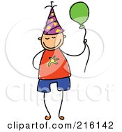 Royalty Free RF Clipart Illustration Of A Childs Sketch Of A Birthday Boy With A Balloon by Prawny