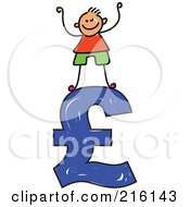Royalty Free RF Clipart Illustration Of A Childs Sketch Of A Boy Standing On A Blue Pound