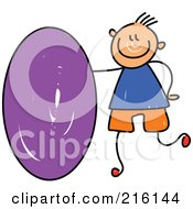 Royalty Free RF Clipart Illustration Of A Childs Sketch Of A Boy With A Purple Oval
