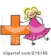 Royalty Free RF Clipart Illustration Of A Childs Sketch Of A Girl With A Plus Symbol