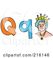 Royalty Free RF Clipart Illustration Of A Childs Sketch Of A Lowercase And Capital Letter Q With A Queen