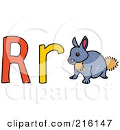 Royalty Free RF Clipart Illustration Of A Childs Sketch Of A Lowercase And Capital Letter R With A Rabbit by Prawny