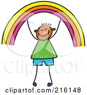 Royalty Free RF Clipart Illustration Of A Childs Sketch Of A Boy Holding Up A Rainbow by Prawny