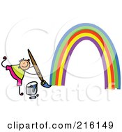 Royalty Free RF Clipart Illustration Of A Childs Sketch Of A Boy Painting A Rainbow by Prawny