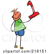 Royalty Free RF Clipart Illustration Of A Childs Sketch Of A Boy Holding The Number 1 by Prawny