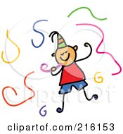Royalty Free RF Clipart Illustration Of A Childs Sketch Of A Birthday Boy Surrounded By Streamers