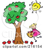 Royalty Free RF Clipart Illustration Of A Childs Sketch Of A Girl Picking Apples by Prawny