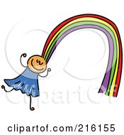 Childs Sketch Of A Girl With Rainbow Hair