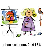 Royalty Free RF Clipart Illustration Of A Childs Sketch Of A Girl With A Painting Of A House
