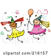 Royalty Free RF Clipart Illustration Of A Childs Sketch Of Birthday Girls With Confetti And Balloons by Prawny