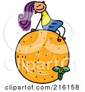 Royalty Free RF Clipart Illustration Of A Childs Sketch Of A Girl Sitting On An Orange by Prawny