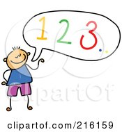Royalty Free RF Clipart Illustration Of A Childs Sketch Of A Boy Counting Out Loud by Prawny