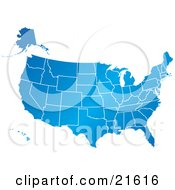 Clipart Illustration Graphic Of A Gradient Blue United States Of America Map With All Of The States On A White Background by Tonis Pan #COLLC21616-0042