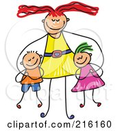 Royalty Free RF Clipart Illustration Of A Childs Sketch Of A Happy Mom Hugging Her Son And Daughter