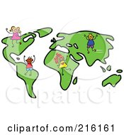 Royalty Free RF Clipart Illustration Of A Childs Sketch Of Kids On A World Map