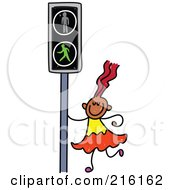Royalty Free RF Clipart Illustration Of A Childs Sketch Of A Girl By A Cross Light