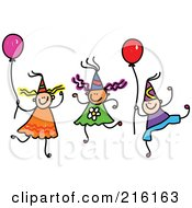 Royalty Free RF Clipart Illustration Of A Childs Sketch Of Children Wearing Party Hats And Holding Balloons by Prawny