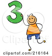 Childs Sketch Of A Boy Holding The Number 3