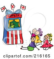 Royalty Free RF Clipart Illustration Of A Childs Sketch Of Kids Watching A Puppet Show