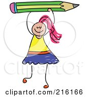 Royalty Free RF Clipart Illustration Of A Childs Sketch Of A Girl Holding Up A Green Pencil by Prawny