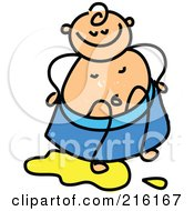 Royalty Free RF Clipart Illustration Of A Childs Sketch Of Baby Potty Training With Pee On The Floor