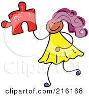 Royalty Free RF Clipart Illustration Of A Childs Sketch Of A Girl Holding A Puzzle Piece by Prawny