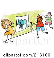 Royalty Free RF Clipart Illustration Of A Childs Sketch Of Kids Playing Pin The Tail On The Donkey