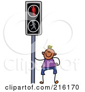 Royalty Free RF Clipart Illustration Of A Childs Sketch Of A Boy By A Crosswalk Sign