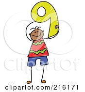 Childs Sketch Of A Boy Holding The Number 9