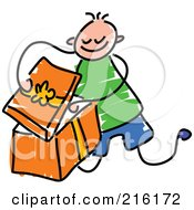 Royalty Free RF Clipart Illustration Of A Childs Sketch Of A Boy Opening An Orange Gift
