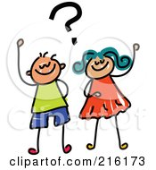 Royalty Free RF Clipart Illustration Of A Childs Sketch Of A Boy And Girl With A Question