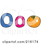 Royalty Free RF Clipart Illustration Of A Childs Sketch Of A Lowercase And Capital Letter O With An Orange