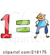 Royalty Free RF Clipart Illustration Of A Childs Sketch Of A One Equals One Boy