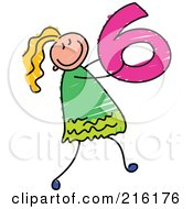 Royalty Free RF Clipart Illustration Of A Childs Sketch Of A Girl Carrying A 6