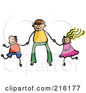 Royalty Free RF Clipart Illustration Of A Childs Sketch Of A Father Holding Hands With His Son And Daughter