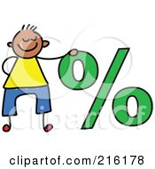 Royalty Free RF Clipart Illustration Of A Childs Sketch Of A Boy By A Percentage Symbol