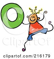Royalty Free RF Clipart Illustration Of A Childs Sketch Of A Boy Holding The Number 0