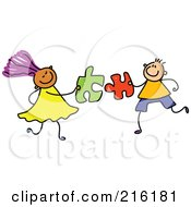 Royalty Free RF Clipart Illustration Of A Childs Sketch Of A Boy And Girl With Puzzle Pieces by Prawny