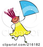 Royalty Free RF Clipart Illustration Of A Childs Sketch Of A Girl Holding A Quater Of A Circle