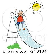 Childs Sketch Of A Boy Going Down A Slide