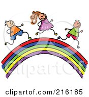 Royalty Free RF Clipart Illustration Of A Hilds Sketch Of Children Running On A Rainbow by Prawny