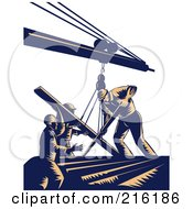 Royalty Free RF Clipart Illustration Of A Team Of Construction Workers Using A Boom To Lift Lumber by patrimonio